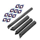 Drillpro 4pcs 12mm Suporte de ferramenta de torneamento com 10pcs Azul Nano DCMT070204 Pastilhas de metal duro