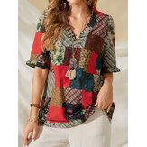 Повседневная блузка из 100% хлопка с принтом в стиле пэчворк для Женское