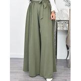 Γυναικεία Καθημερινά Χαλαρά Στερεά Χρώματα Δαντέλα Ελαστικά Μέση Παντελόνια με Μέση Πόδι Με Τσέπες
