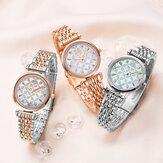SHENGKE SK K0136 Cristal Dial Flor Patrón Acero inoxidable Damas Vestido Mujer Reloj de cuarzo