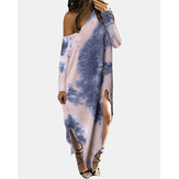 Womens Long Sleeve Off Shoulder Tie-dye Print Side Split Round Neck Long Maxi Dress