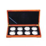 A madeira da moeda do carvalho Caso indica Caixa suportes de madeira da coleção de armazenamento das peças para 8 moedas