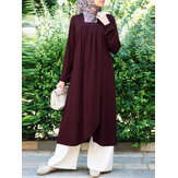 Women Solid Square Neck Pleated Long Sleeve Split Hem Kaftan Vintage Dress