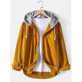 Mens Corduroy Button Up Long Sleeve Casual Drawstring Hooded Shirts