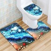 Franela tapete conjunto tapa del inodoro conjunto antideslizante Cuarto de baño alfombra subacuática alfombra del piso tapete