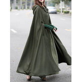 Kvinder Casual Hooded Loose Cape Jacket Coats Cloak