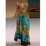 Women Sleeveless Peacock Print Bohemia Beach Long Maxi Dress