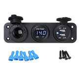 12V 2.1+2.1A Blue LED Rocker Switch Panel Dual USB Charger Power Socket Voltmeter Voltage Display For Car Boat RV