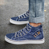 Dames Denim Comfy Wearable Casual Sports High Top Flats