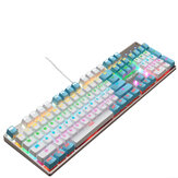 104 Key Wired Mechanical Keyboard RGB Backlight Blue Switch Waterproofd USB Gaming Keyboard for Laptop Desktop PC
