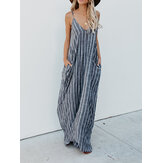Kobiety Casual Spaghetti Strap Striped Long Maxi Dress