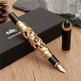 JINHAO Golden Dragon Zware Fountain Pen Clip Medium Nib 18KGP Business Men Gifts