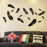 3D Multi-Color Feather Silver DIY Shape Mirror Wall Stickers Accueil Wall Bedroom Office Decor