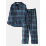 Mujer vendimia Estampado de cuadros de manga larga con doble bolsillo Camisa Cintura elástica Pantalones Pijama para el hogar