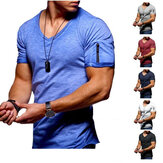 Men's V-neck T-shirt Fitness Bodybuilding T-shirt High Street Summer Short-Sleeved Zipper Casual Cotton Top