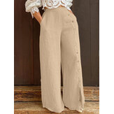 Women Cotton Split Elastic Waist Loose Side Button Pants