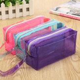 クリア化粧品バッグポーチファスナートイレタリー多機能プラスチックPPバッグレディメイクケースLサイズ