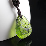 Natural Green Crystal Stone Pendant Necklace