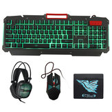 4-in-1 Set 4Pcs 104 Keys Gaming Keyboard + 1600DPI Mouse + 3.5mm Headset + Mouse Pad Combo