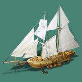 1:130 Scale Sailing Boats Model Assembly Wooden Sail Boat Home Decorations