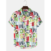 Design Colorful Letter Print Button Up Pocket Short Sleeve Mens Shirts