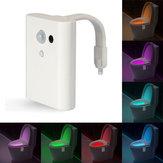 8 colores closestool inteligente sentido de inducción LED luz movimiento noche lámpara de noche inodoro activado