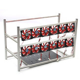16GPU Mining Frame Case Aluminum Mining Case Miner Mining Supply Case with 12Pcs LED Fan