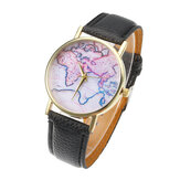 Fashion Casual PU Leather Strap Map Dial Women Wrist Watch Quartz Watch