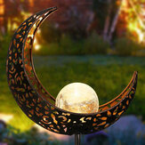 LED Garden Solar Lights Pathway Outdoor Moon Decor Crackle Lawn Lamp Glass