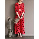 Women Loose Polka Dot Printed Half-Sleeve O-Neck Maxi Dress