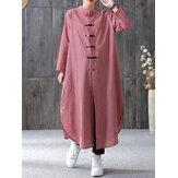 المرأة منقوشة لوحة مشبك طويلة الأكمام عارضة قميص فضفاض النمط الصيني