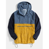 Mens Corduroy Patchwork Half Zip Side Pocket Drawstring Hoodies