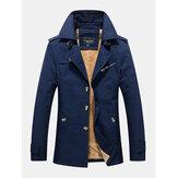 Heren katoen dikke pluche gevoerde knoop voorzijde revers warme jassen met zak