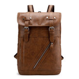 Faux Leather Large-capacity School Backpack Leisure Bag