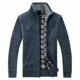 Men Fashion Zipper Plaid Lining Cardigans
