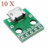 10 stk Micro USB til Dip Female Socket B Type Mikrofon 5P Patch til Dip med Lodde Adapter Board