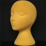 Yellow Foam Mannequin Head Holder Peluca de pelo humano Modelo Practical Display