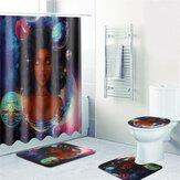 African Girl Waterproof Bathroom Shower Curtain Non-Slip Rug Toilet Cover Bath Mat Set Home Decor