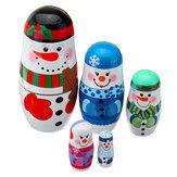 5 unids / set muñecas de anidación de Navidad de madera de Navidad muñeco de nieve decoraciones de Eva para el regalo del niño