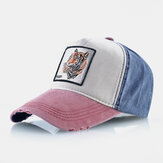Unisex Embroidery Tiger Pattern Patchwork Adjustable Outdoor Sunshade Hat Baseball Cap
