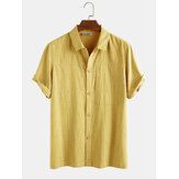 Mens 100% Cotton Solid Color Chest Pocket Casual Short Sleeve Shirts
