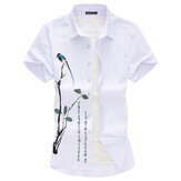 Men T-shirt Printed Casual Loose Short Sleeve Breathable Quick Dry Blouse Outdoor Hiking