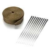 5m /10m /15m Exhaust Header Heat Pipe Wrap Tape W/ 10 Stainless Steel Zip Ties