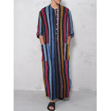 Mens Vintage Loaf Kaftan Tops Men Long Robe Loungewear Camisetas casuais