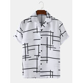 Mens Abstract Irregular lines Light Revere Collar Loose Casual Short Sleeve Shirts