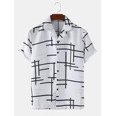 Chemises à manches courtes décontractées pour hommes, lignes irrégulières abstraites, col à revers léger