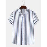 Chemises à manches courtes à rayures verticales pour hommes