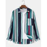 Polka Dot Stripe Print Langarm Tasche Baumwolle Atmungsaktive Shirts für Männer
