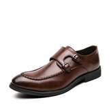 Men Urban Type Stitching Metal Buckle Comfy Slip On Formal Business Casual Shoes