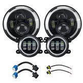 2Pcs 7Inch Round LED Headlights Halo DRL Angle eyes Turn Signal Light with 2Pcs 4Inch Fog Lights For Wrangler